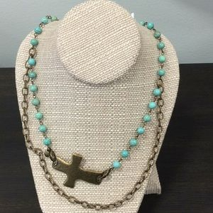 Jewelry - Necklace by LE turquoise and gold tone
